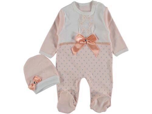 68 56 Mädchen Set NEU ♥ Strampler Overall Baby Schlafanzug /& Mütze Gr.