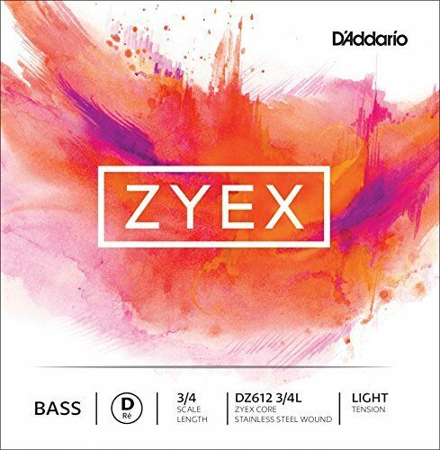 D'Addario Zyex Bass Single D String, 3 4 Scale, Light Tension