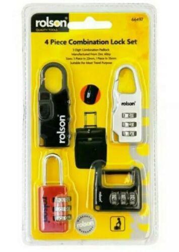 4 Padlocks 3 Digital Combination Travel Bag School Locker Gym Padlock 35mm Zinc