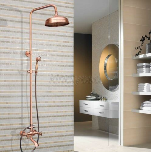 Antique Red Copper Wall Mounted Bathroom Rain Shower Faucet Set Mixer Tap Krg511