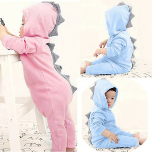 b70d3f095 Newborn Toddler Baby Boy Girl Kid Dinosaur Hooded Romper Jumpsuit ...
