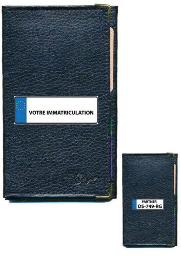 Etui Protection cuir Porte Carte Grise papiers voiture permis à personnaliser