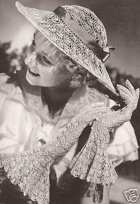 Vintage Crochet PATTERN to make Lace Wedding Hat Gloves Garden Party Wedding