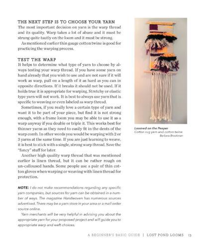 Beginner/'s Guide to Basic Frame Loom Weaving on Lost Pond Looms