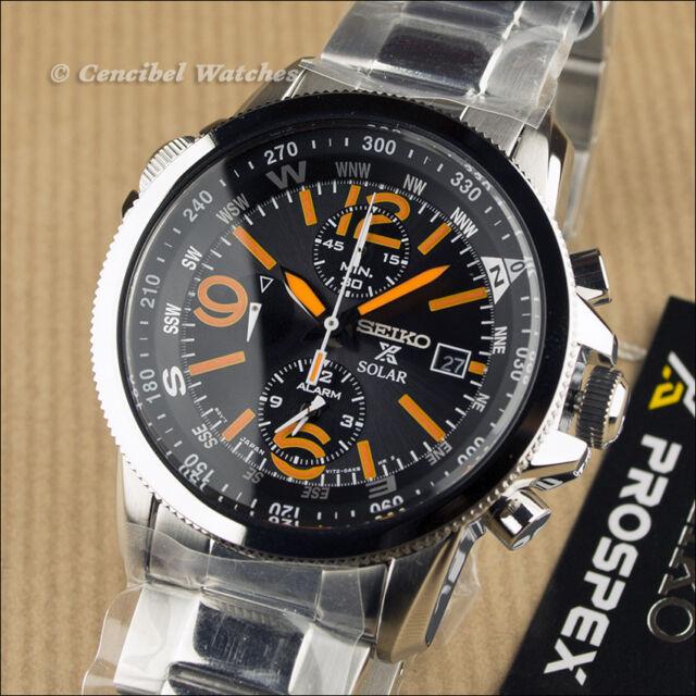Seiko Prospex SSC077P1 SSC077 Solar Alarm Chronograph Compass Stainless Steel