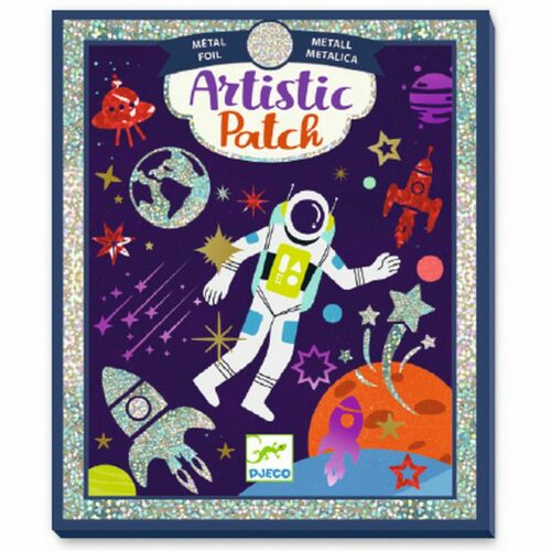 Klebebilder mit Folie Bastelset für Kinder DJECO Artistic Patch Weltall