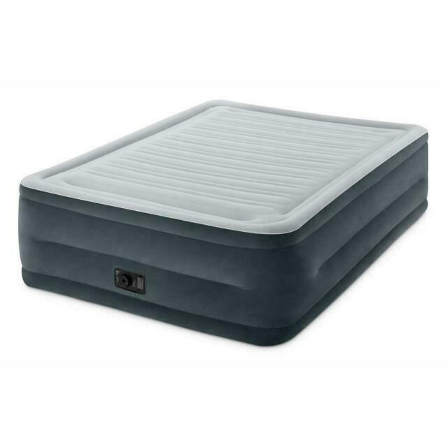Queen Size Flocked Airbed Mattress with External AC Air Pump Serta Raised 15 In