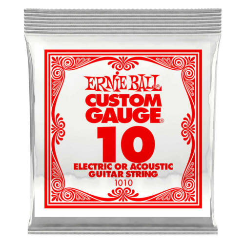Ernie Ball P01010 .010 Plain Steel Electric or Acoustic Guitar Strings 6PK