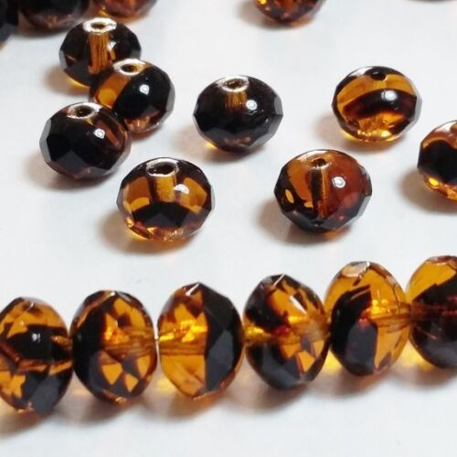 Cuentas checas de Vidrio Rondelle Negro Naranja Facetado 6x9mm GB371 10 un