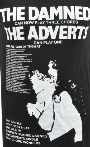 MENS BLACK TANK VEST DAMNED /& THE ADVERTS GIG GUIDE POSTER 1977 PUNK ROCK S-5XL