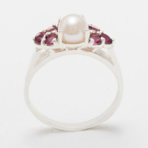 Solid-9ct-White-Gold-Full-Pearl-amp-Garnet-Womens-Cluster-Ring-Sizes-J-to-Z