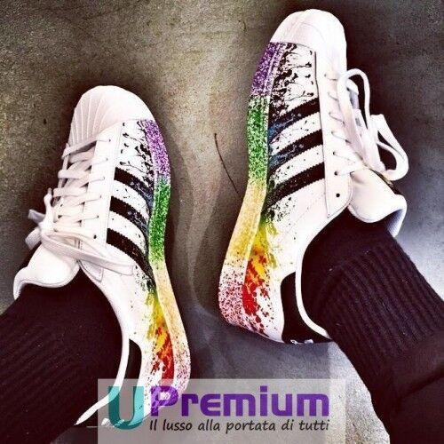 Adidas Superstar Pride Skizzen der Farbe glänzend 2018 [Produkt angepasst] Sc