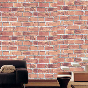contact paper natural brown brick effect self adhesive wallpaper home depot roll. Black Bedroom Furniture Sets. Home Design Ideas