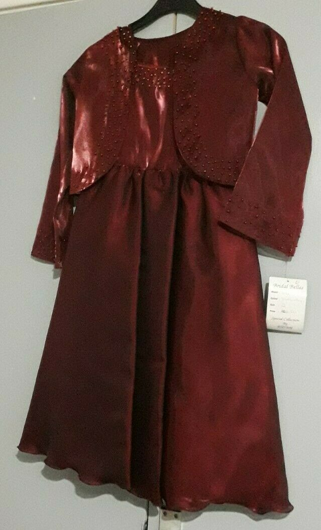 bridal belles burgundy dress & bolero girls age 6-7 special collection by ruyam