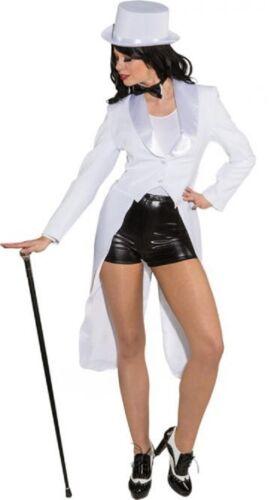 Ladies White Showman Magician Jacket TV Book Film Fancy Dress Costume Tailcoat