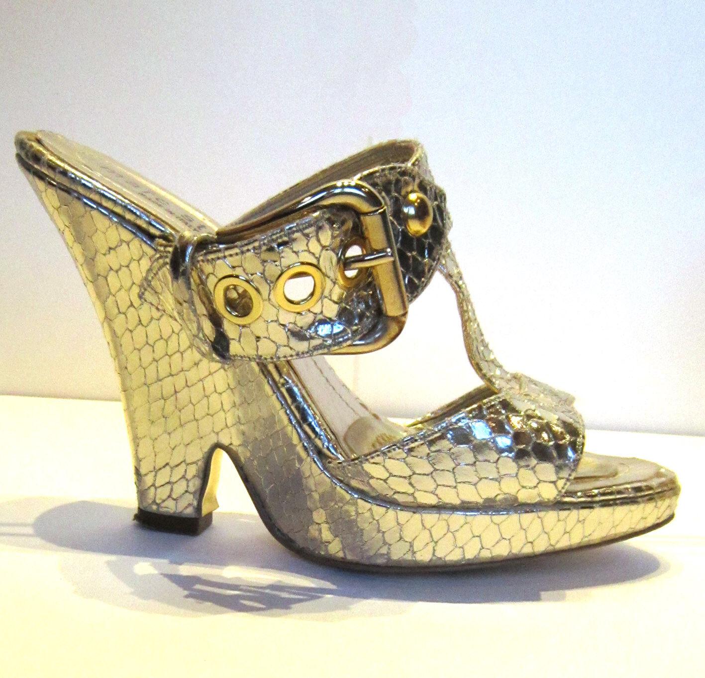 Designer Oro Pelle di Serpente Pitone Zeppa Sandali Scarpe by MARC STENS