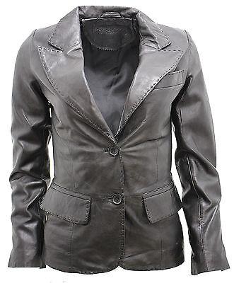 Symbol Der Marke Ladies Casual Black Leather Blazer Jacket