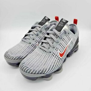 Nike-Air-Kids-VaporMax-Flyknit-3-GS-Particle-Grey-Uni-Red-Low-Top-Sneaker-5Y-New