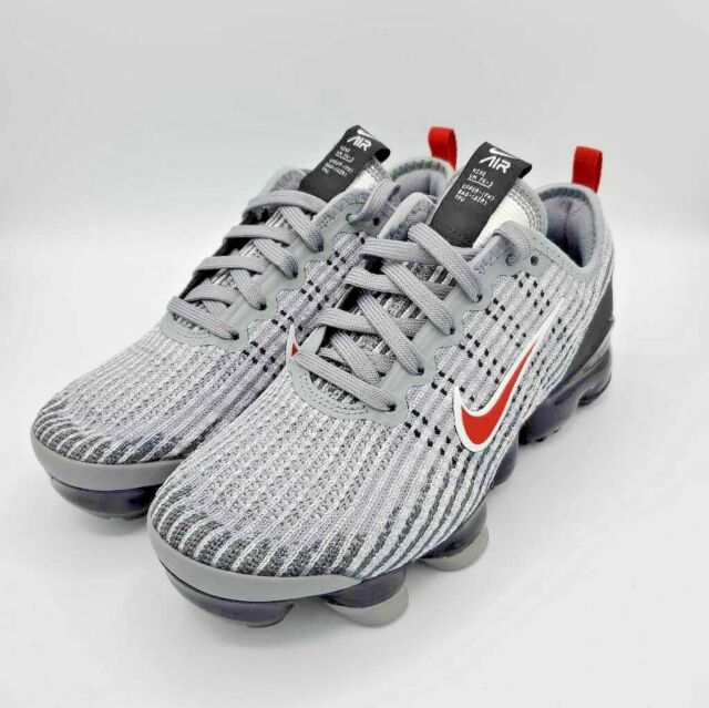 Nike Air Kids VaporMax Flyknit 3 GS Particle Grey Uni Red Low Top Sneaker 5Y New