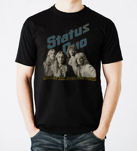 Status-Quo-Rock-Band-Rockin-All-Over-The-World-Black-Men-Printed-T-shirt