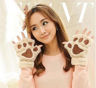 Fashion Winter Women Paw Gloves Fingerless Fluffy Bear Cat Plush Paw Cute