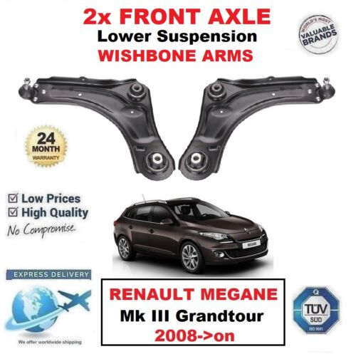 2x FRONT AXLE Lower Wishbone ARMS for RENAULT MEGANE III Grandtour 2008-/>on