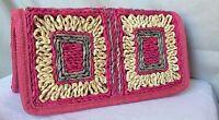 Pink Straw Handmade Handbag Purse Linen Inside Crushable Straw Outer