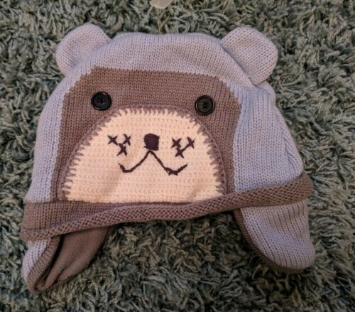 BNWOT John Lewis Baby/'s Blue Bear Knitted Winter Hat With Ear Flaps 12-24 Months