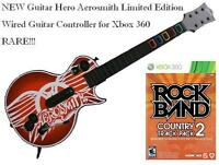 Xbox 360 Guitar Hero Aerosmith Wired Guitar & Rock Band Country Track Pack 2