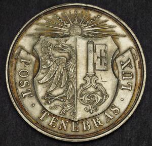 1892-Switzerland-Geneva-Canton-Silver-034-Bowls-034-1st-Prize-Award-Medal-54gm