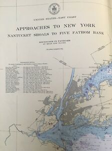 1947 Us Coast And Geodetic Survey Chart Map Approaches To New - Us-coast-and-geodetic-survey-maps