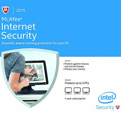 McAfee Internet Security 2015, 3 PCs, 1 Year Protection (eCARD DOWNLOAD VERSION)