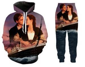 Set 4 S Pale Vintage 3D Print Hoodie Long Sleeve Pullover Sweatshirts for Men