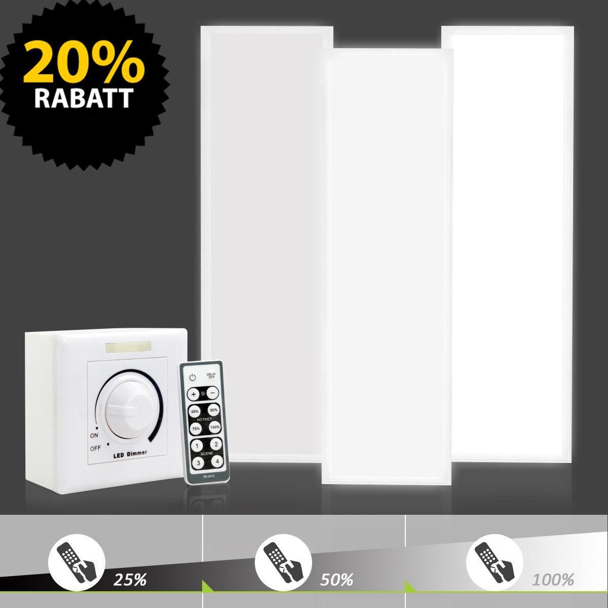 LED Panel dimmbar 120x30cm 36W Deckenleuchte mit Fernbedienung & Dimmer