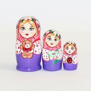 russian nesting doll Big Belly 4 inchs purple US Seller