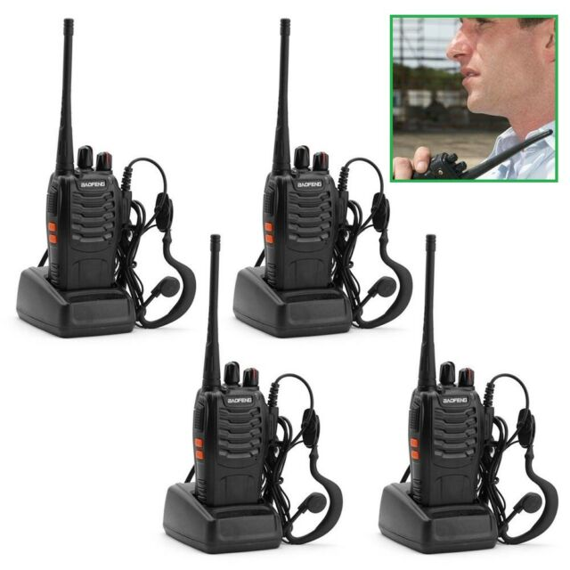 4x BF-888S BaoFeng Walkie Talkie UHF 400-470MHZ Two Way Radio 16CH Long Range