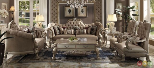 Dresden Victorian Style Bone Velvet Upholstered 3 Piece Living Room Sofa Set