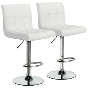 Details about 2pcs Bar Stools PU Leather Chair Height Adjustable Kitchen  Island Counter Height