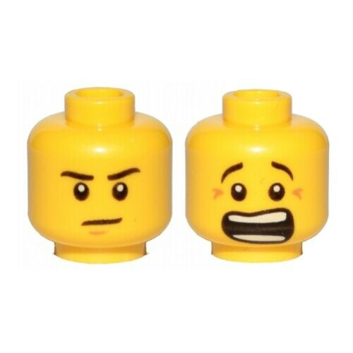 LEGO Minifig Head Brown Chin Dimple // Mouth Open Scared Brown Crow/'s Feet