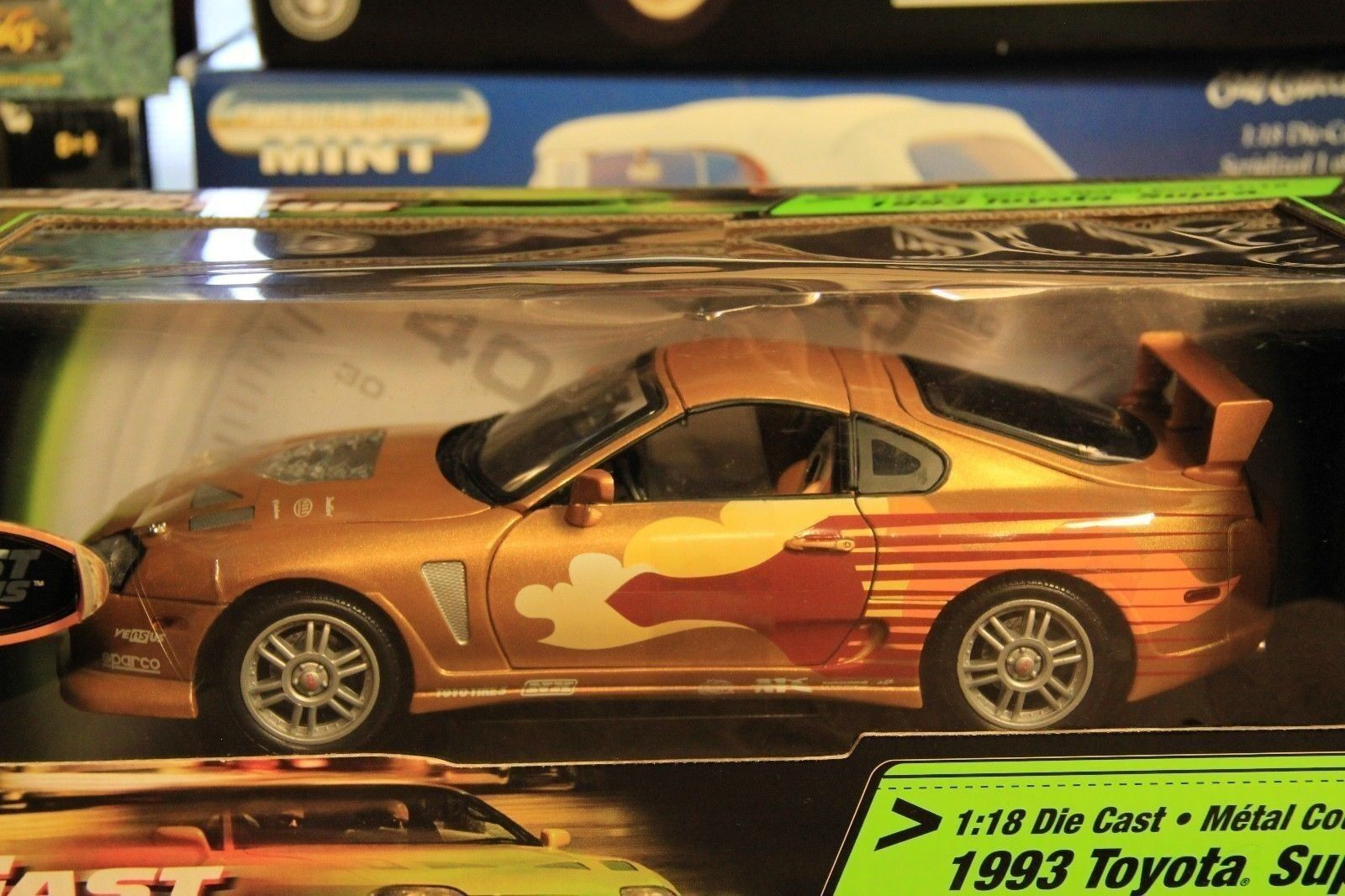1:18 ERTL quasi Furious Paul Walker 1993 TOYOTA SUPRA ORO-NUOVO IN SCATOLA ORIGINALE