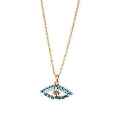 Collier Court Doré Pendantif Yeux Mini Perle Turquoise Blanc Etoile Original DZ1