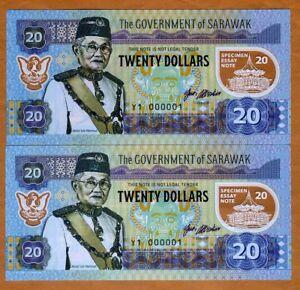Set-Sarawak-Malaysia-2-x-20-dollars-2017-Matching-S-Ns-Polymer-UNC
