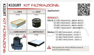 KIT-4-FILTRI-TAGLIANDO-RENAULT-CLIO-III-1-5-dCi-2007-gt-K131RT-YDEA