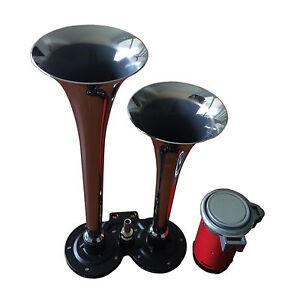 Air-Horn-12V-150DB-Dual-2-Trumpet-Chrome-for-Car-Truck-RV-Train-Boat-Automobile