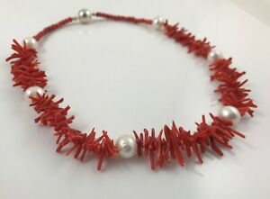 Real Freshwater Pearl & Red Coral Necklace Earrings Silver-plated Magnetic Clasp