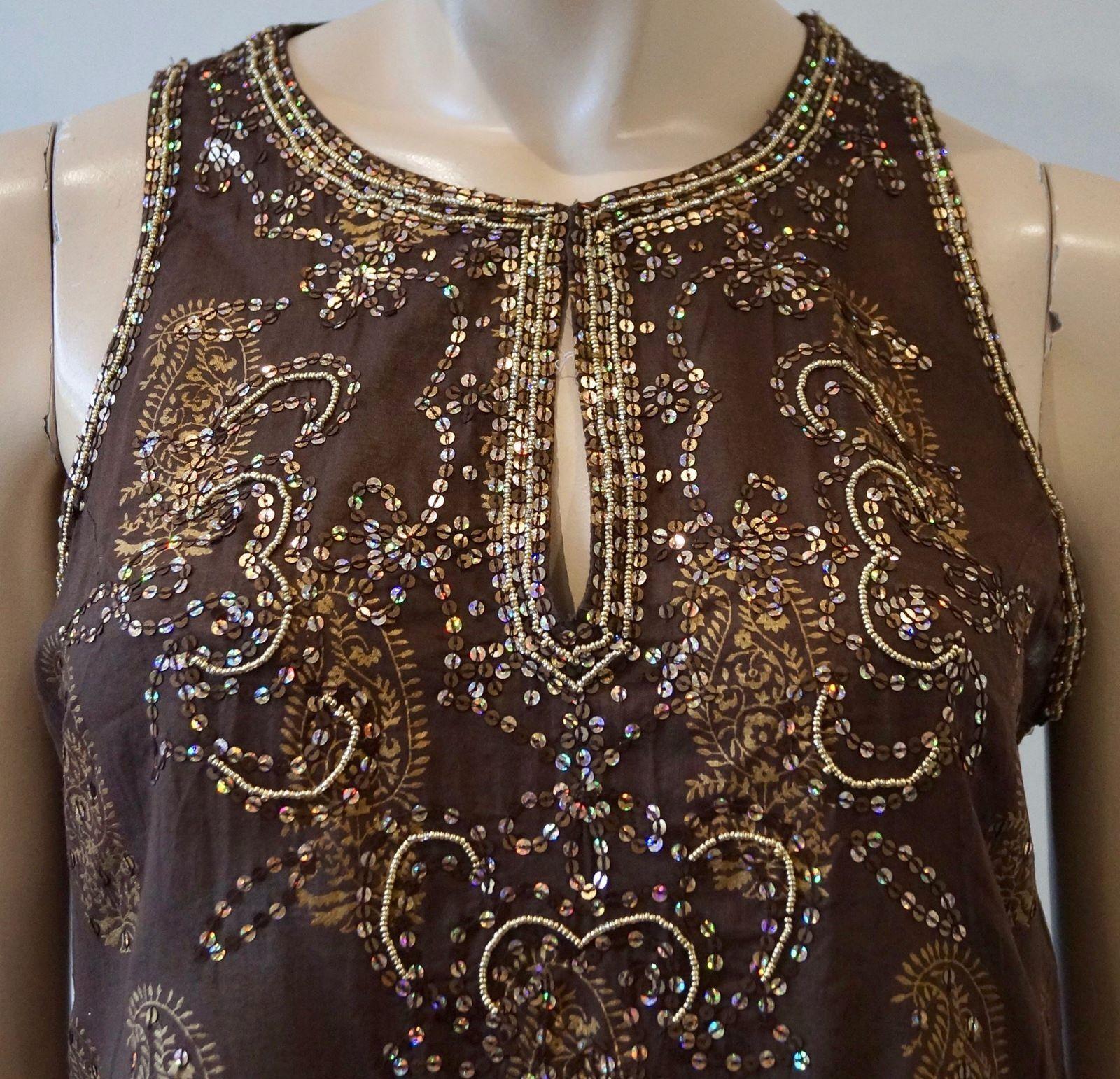 JULIET DUNN Brown & Bronze Cotton Sequin Sequin Sequin Embellished Beach Cover Up Dress 3 bb0da5