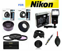 Hd Wide Angle Lens + Telephoto Zoom Lens + Flash +filters For Nikon D3200 D3300