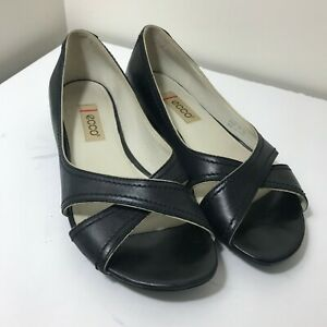 Details about ECCO Women Cross Front open Toe Leather Black Sandals Shoes Sz. Euro 37 US 6.5