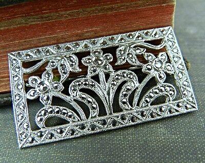 Art Deco Inspired Sterling Silver Daisy Flower Pin / Brooch