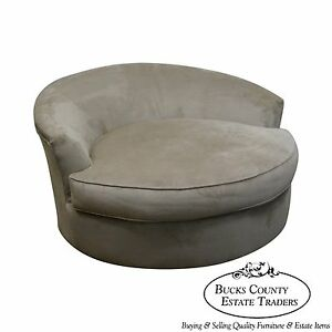 Large Oversized Round Revolving Swivel Chair Loveseat